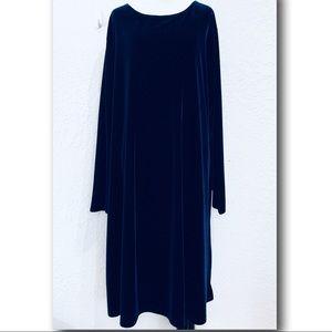 Vintage Jacqueline Ferrar Navy Velvet Velour Dress
